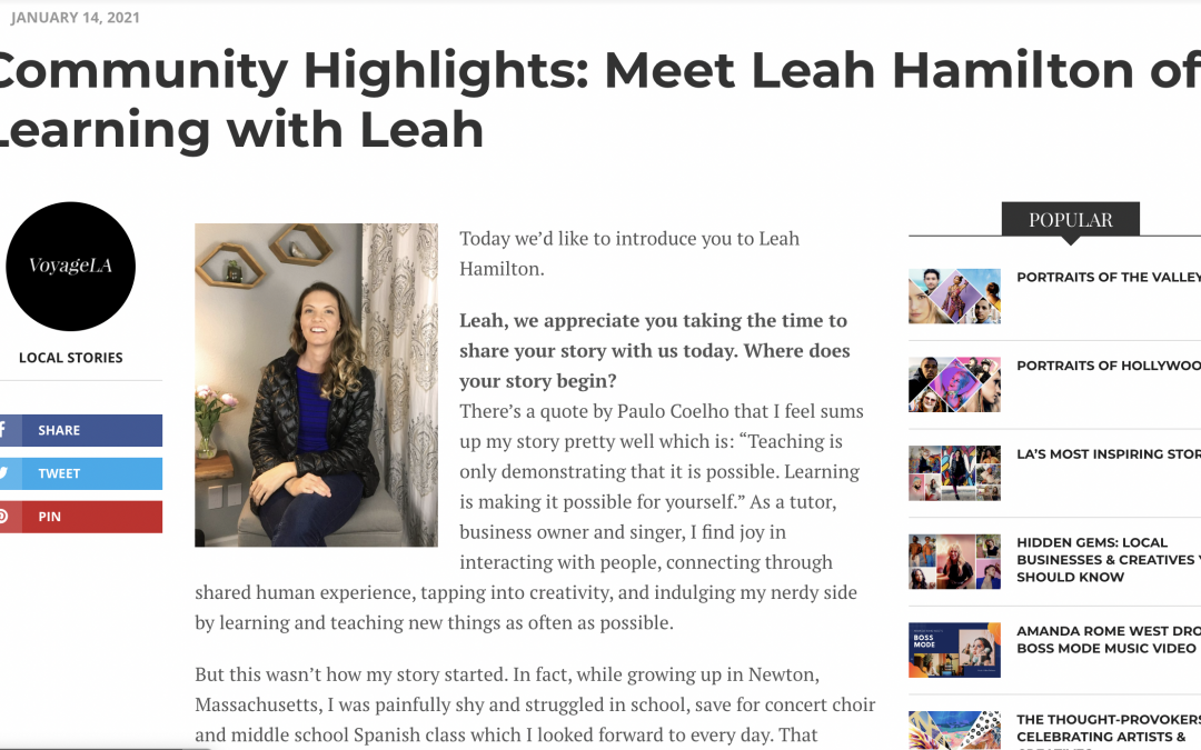 Catch Leah in the most recent VoyageLA